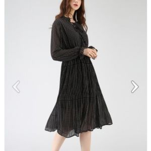 One More Time Polka Dots Chiffon Dress in Black